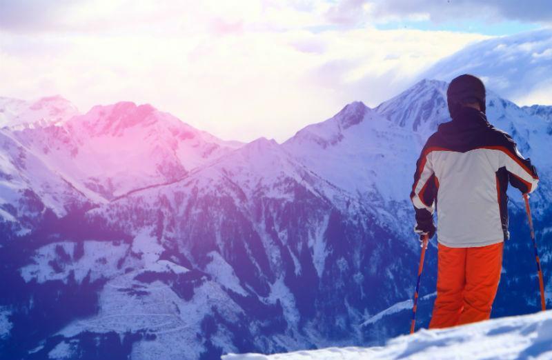 skiing on Dolomites